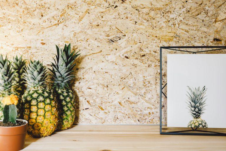 Imagem de porta retratos metálico com fotografia de abacaxi sobre mesa de madeira com cactos e abacaxis ao lado