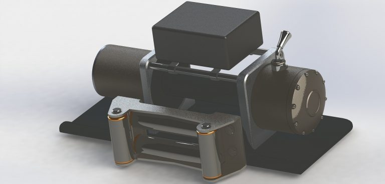 Um guincho elétrico de cores preta e prateada.