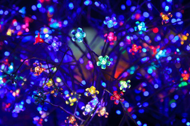 Imagem de cordão de luz com lâmpadas coloridas em formato de flor