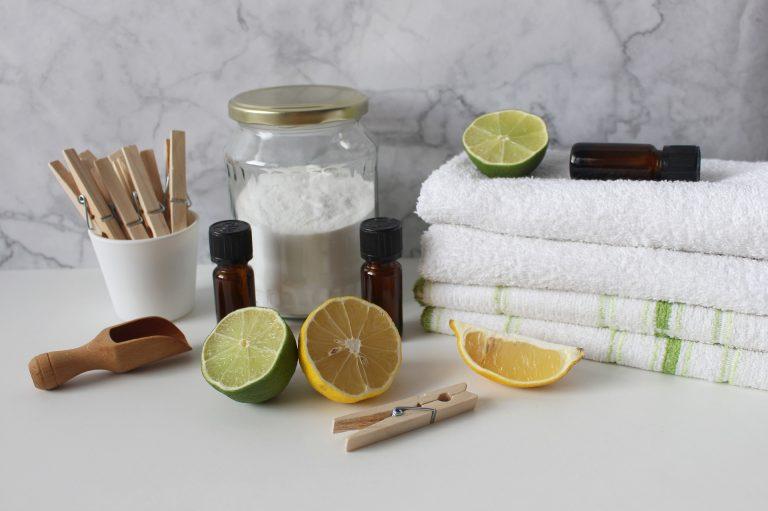 Imagem de toalhas de banho brancas, frutas cortadas, prendedores e frascos com produtos químicos.