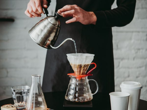 Making pour-over coffee with a hario V60 dripper