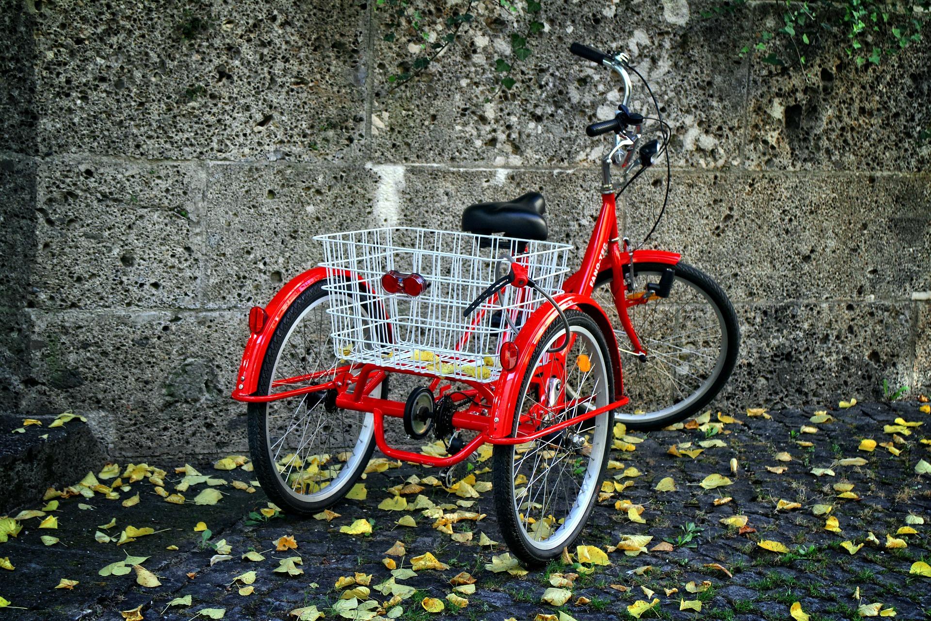 Imagem mostra um triciclo em destaque.