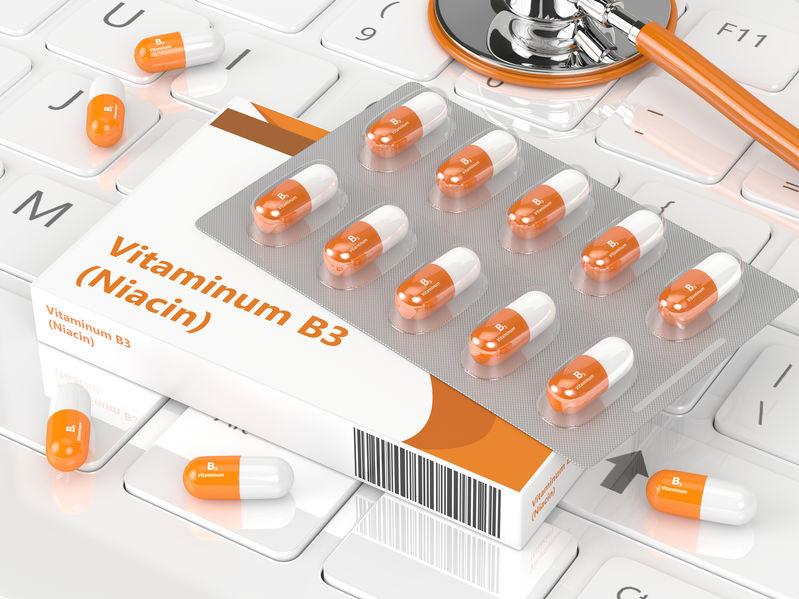 Caixa com suplementos de vitamina B3.