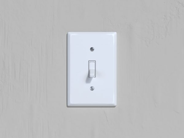 On and Off switch. Light switch on bright wall background. 3d rendering.