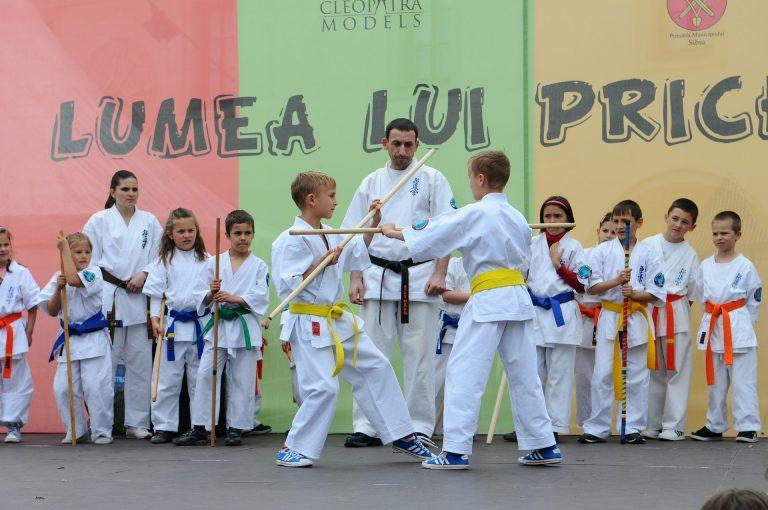 Imagem mostra um treinamento de karatê com diversas crianças.