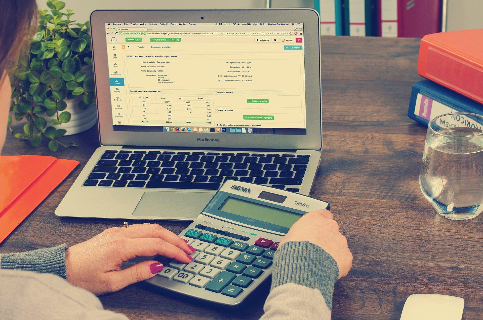 Imagem mostra uma pessoa fazendo cálculos no computador.