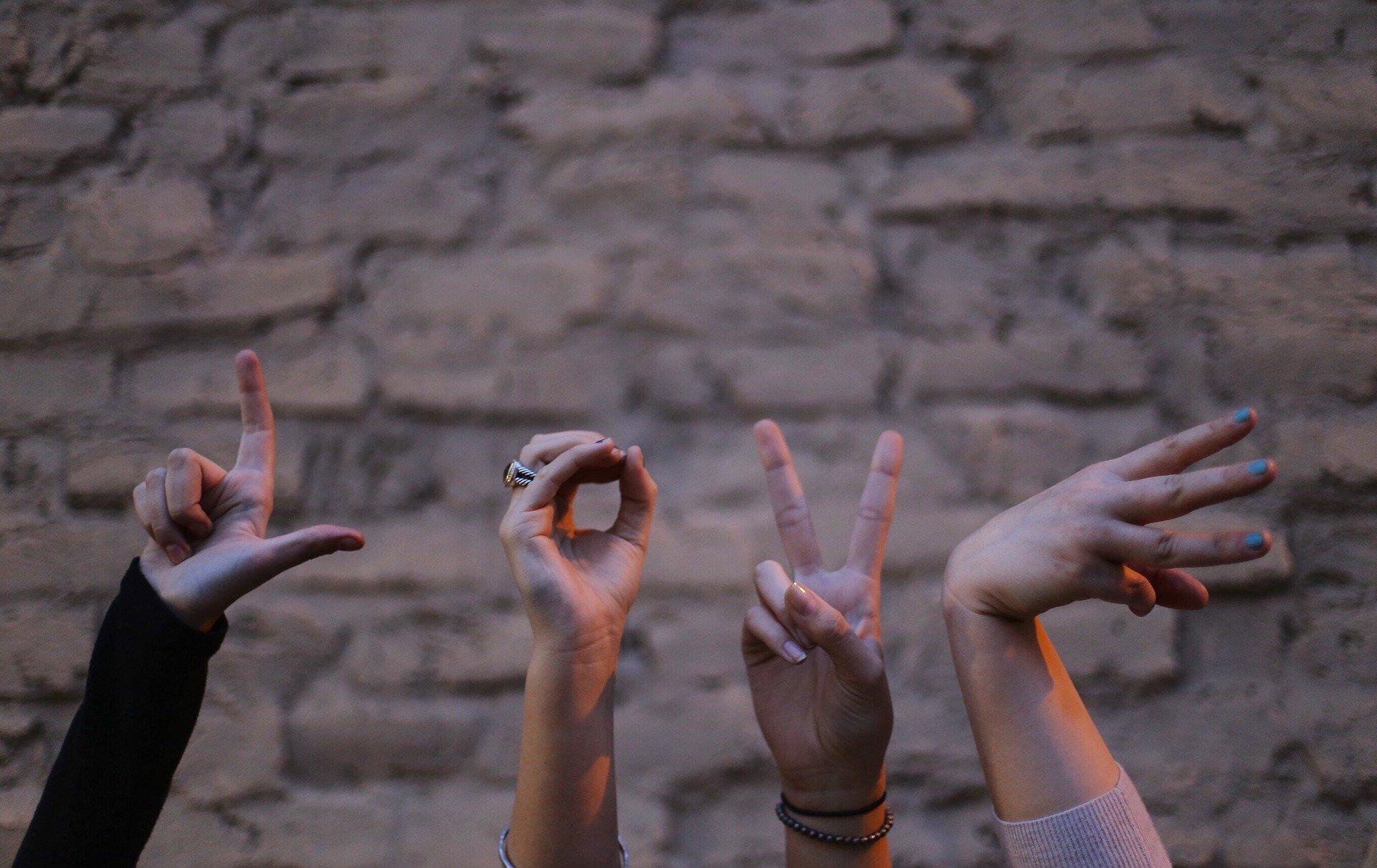 Na foto quatro mãos fazendo sinais que formam a palavra love.