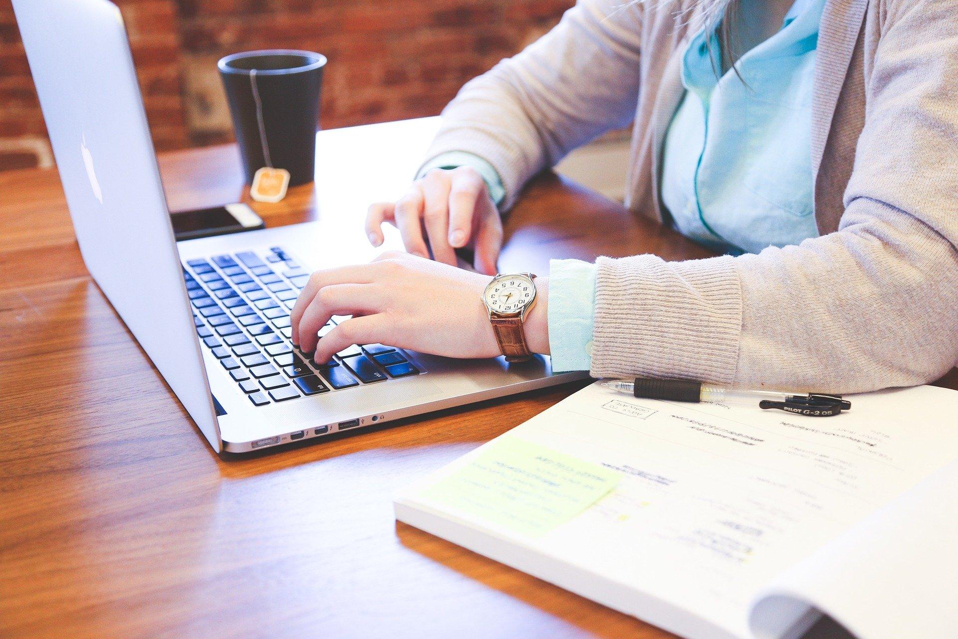 Imagem mostra uma pessoa digitando em um notebook.