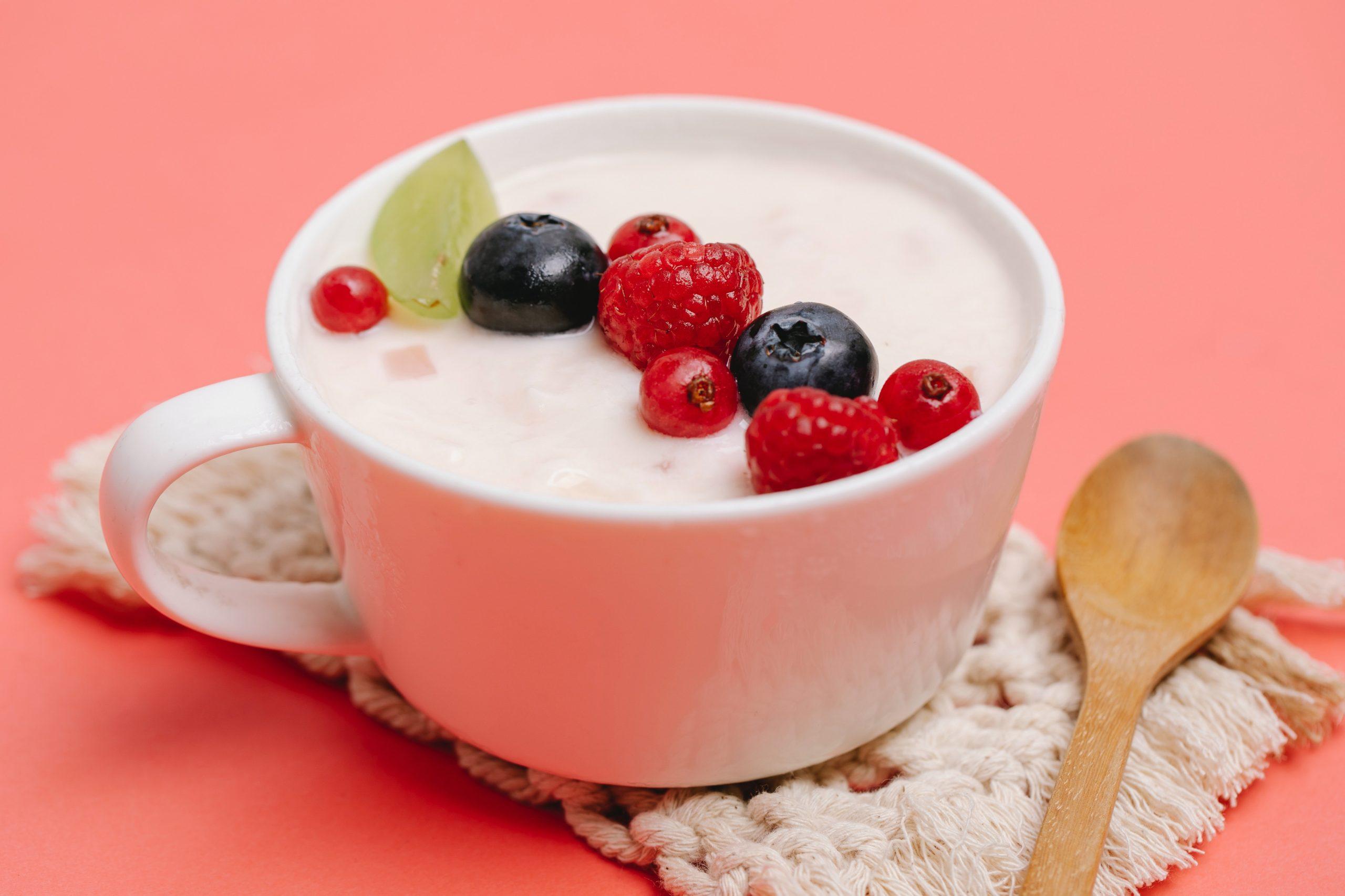 tigela com frutas vermelhas e iogurte preparado na melhor iogurteira