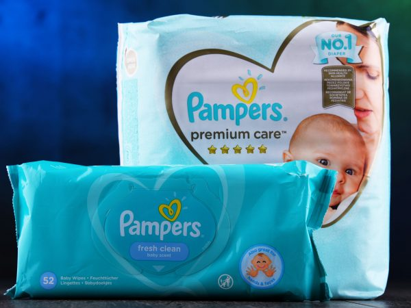 POZNAN, POL – MAY 6, 2020: Pampers, an American brand of baby and toddler products marketed by Procter & Gamble