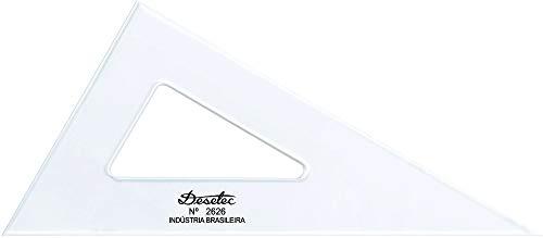 Esquadro Escaleno 60° de 26 cm sem Escalas, Trident, 2626, Acrílico Cristal