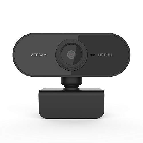 Webcam 1080P com microfone e capa de privacidade, câmera USB para webcam, webcam de streaming HD para desktop e laptop PC com microfone base rotativo de 360 graus (Black)