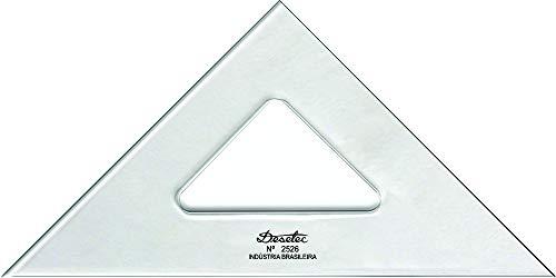 Esquadro Isósceles 45° de 26 cm sem Escalas, Trident, 2526, Acrílico Cristal, Incolor