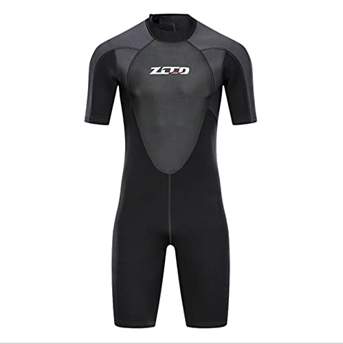 N\C Roupa de banho masculina de neoprene de 3 mm para surfe, natação, mergulho, caiaque, manga curta, esportes aquáticos, costas com zíper quente, preto