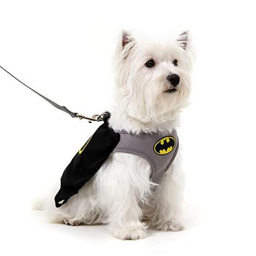 Peitoral Com Guia Para Cachorro Air Mesh Batman - Sula Pet - Cinza/Preto 70209-P