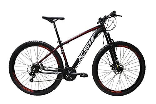Bicicleta Aro 29 Ksw Aluminio Cambios Shimano 21v Freio À Disco (Preto/vermelho/branco, 17)