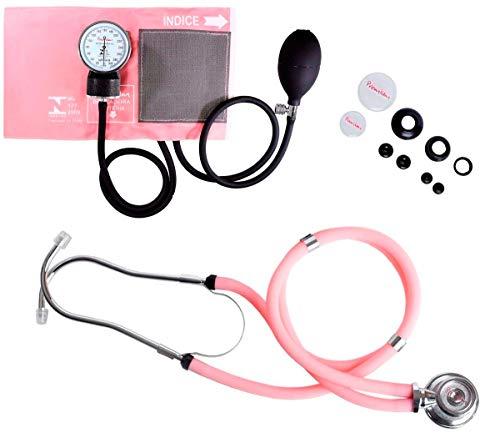 Esfigmomanômetro Fecho de Contato + Estetoscópio Duplo Premium Grafite… (rosa)
