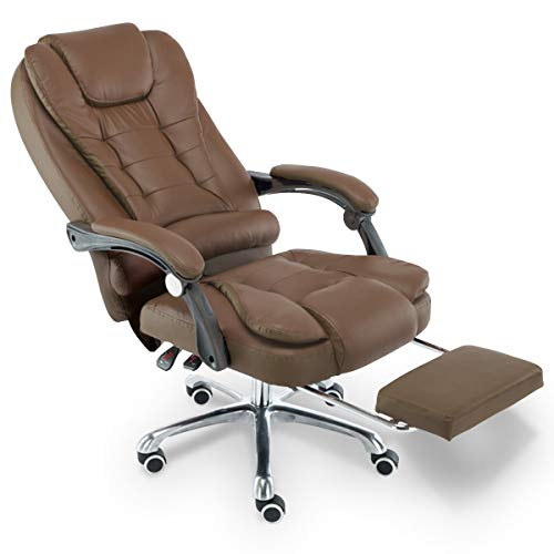 Cadeira para Escritório Giratória com apoio para os pés - Marrom - LMS-BY-8436-T3 - Marrom