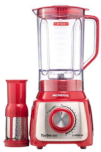 Liquidificador Mondial, Turbo Inox L-1200W, 220V, Vermelho, 3L - L-1200 RI