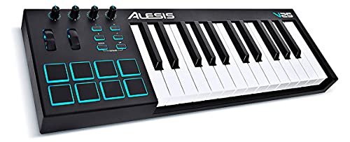 Teclado Musical Digital Alesis 25 teclas V25 com controlador USB-MIDI e 8 pads