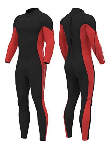 Letuwj Roupa de mergulho masculina e feminina de neoprene de 3 mm, mantém o corpo inteiro aquecido, trajes de mergulho para esportes aquáticos para homens, jovens e mulheres, Red Black, S