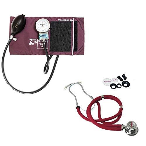 Aparelho Medidor de Pressão Esfigmomanômetro com Braçadeira em Velcro + Estetoscópio Rappaport Premium vinho