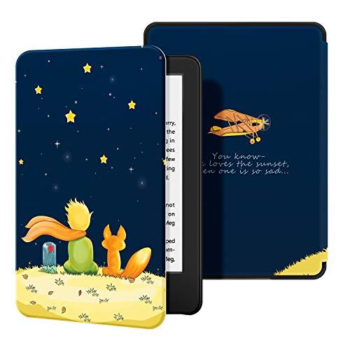 Capa para Kindle 10a geração (aparelho com iluminação embutida) - rígida - sistema de hibernação - Pequeno Príncipe