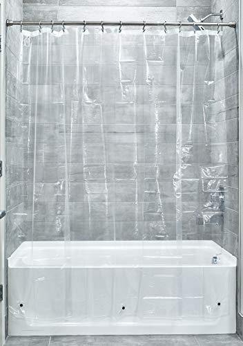 Cortina de chuveiro de vinil iDesign, sem PVC, resistente a mofo, com ímãs para mestre, convidado, banheiro, banheira, 137 x 198 cm, transparente