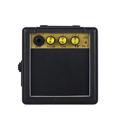 KKmoon Mini amplificador de guitarra e alto-falante de 5 W para guitarra eletrônica Amplificador portátil preto de prática pessoal com bateria