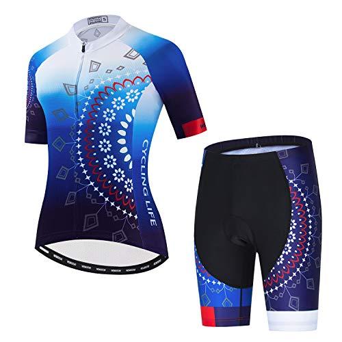 Conjunto de camisa de ciclismo feminino para ciclismo de montanha 3D com almofada de gel, Cf2301-1, M(For Your Chest33-35.4