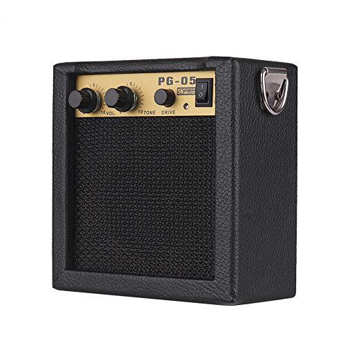KKmoon Mini amplificador de guitarra de madeira e alto-falante 5W com entrada de 6,35 mm Saída de fone de ouvido de 3,5 mm compatível com ajuste de tom de volume overdrive