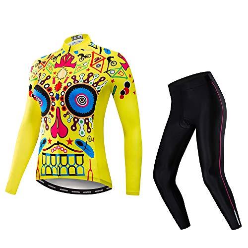 Conjunto de camisa de ciclismo feminino de manga comprida, jaqueta de ciclismo + calça, Amarelo, Tag XL(Chest 38.8-41.7