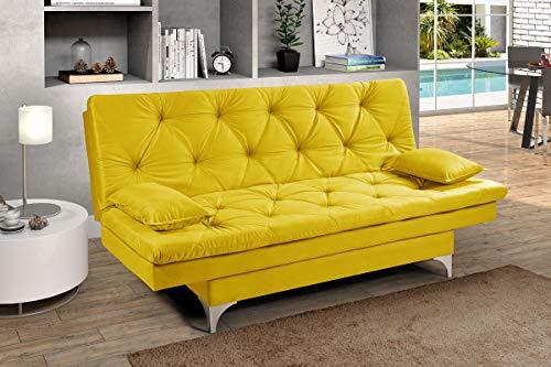 Sofa Cama Austria 3 Posições Reclinavel Essencial Estofados Amarelo
