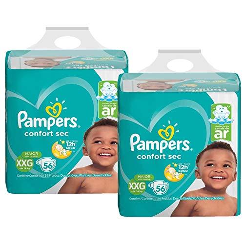 Kit Fralda Pampers Confort Sec Super Tamanho Xxg 112 Tiras