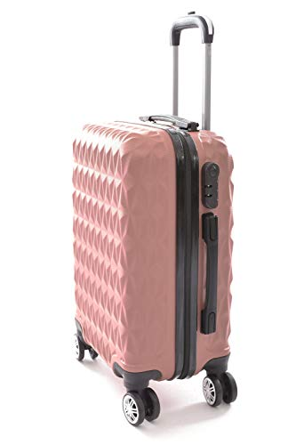 Mala de Bordo Viagem Pequena ABS - (55 x 35 x 22cm) C/ 4 Rodinhas 360º - (Regulamentação ANAC) Rosa Ouro