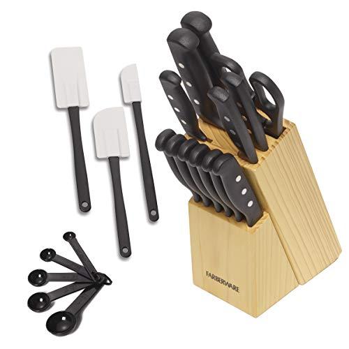 Conjunto de 22 peças de facas e utensílios de cozinha Nunca precisa afiar Farberware de aço inoxidável de alto carbono, preto