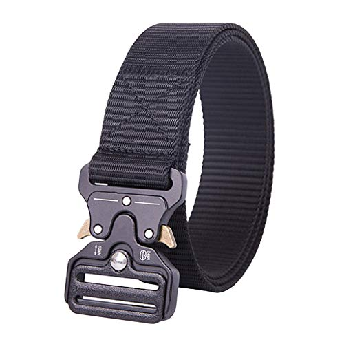 homozy Unisex Tático Nylon Cinto Longo Web Belt Jeans Utility Waistbelt - Preto