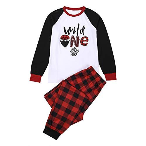 Conjunto de pijamas combinando para a família, pijama de Natal com letras de manga comprida + calça xadrez para pais e filhos para a família, Branco, P