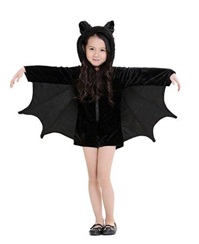 Macacão infantil de morcego Cutechuveiro, fantasia de Halloween, para meninas, 8 a 10 anos, preto