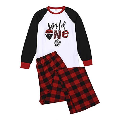 Conjunto de pijamas combinando para a família, pijama de Natal com letras e mangas compridas + calça xadrez para pais e filhos para a família (branco, M-Dad)