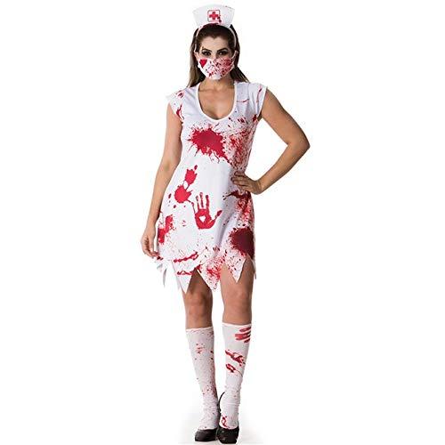 Fantasia de Halloween Adulto Feminino Enfermeira Zumbi Com Tiara de Sangue P 36-38