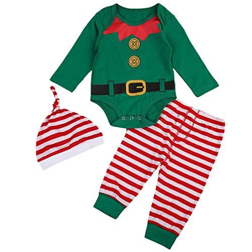 ABOOFAN 3 Peças de Roupa de Natal Bebê Elfo Conjunto de Roupa de Papai Noel Bebê Natal Crianças Pijama Pijama para Bebê Recém-Nascido Traje de Festa de Natal Roupas de Manga Longa (80)
