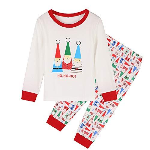 Pijamas de Natal para a família combinando para meninos e meninas Deer Pijama infantil infantil Roupas de bebê Pijama feminino Família Conjuntos de pijamas de Natal para a família (Branco, 110 (6 a 7 anos)