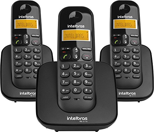 Telefone sem Fio Digital com Dois Ramais Adicionais, intelbras, TS 3113, Preto, Pacote de 3