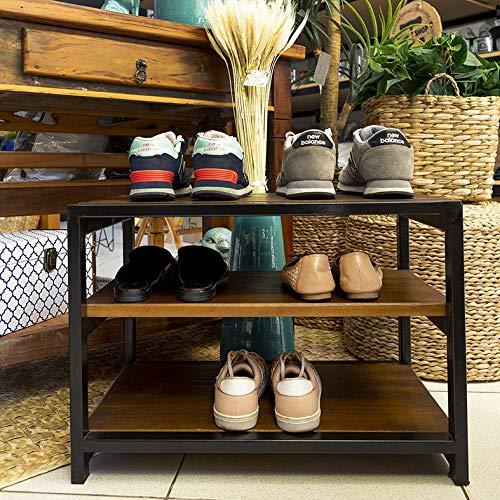 Banco Sapateira para Porta de Casa em Ferro e Madeira para Organizar Sapatos Imbuia