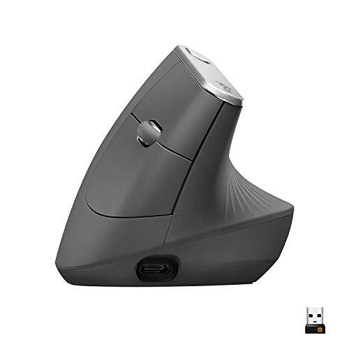 Mouse sem fio Logitech MX Vertical com Design Ergonômico, USB Unifying ou Bluetooth para até 3 dispositivos, Recarregável