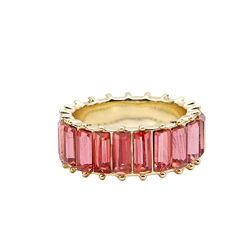 Holibanna Anéis de diamante baguete anéis elegantes para mulheres meninas (NO.9)