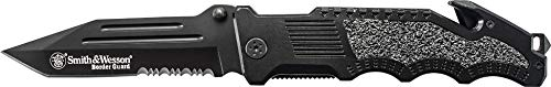 Smith & Wesson Border Guard SWBG2TS Faca dobrável de alto carbono de 25,4 cm com lâmina tanto serrilhada de 11,2 cm e cabo de alumínio para tática, sobrevivência e EDC