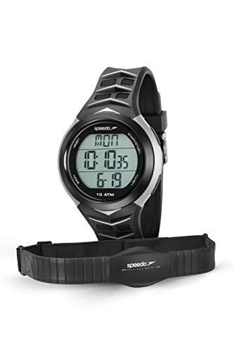 Relógio Monitor Cardíaco, Speedo, 80621G0EVNP2, Preto/ Cinza