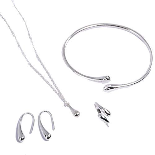 Holibanna Conjunto de joias de prata esterlina 925 de 4 peças, pingente, pingente, brincos, brincos, brincos, festa de aniversário, casamento, encontros, joias, acessórios
